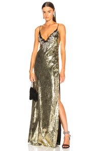 DUNDAS SEQUIN EMBROIDERED GOWN IN METALLICS