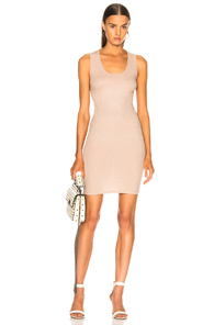 Rib Cross Back Mini Dress in Brown,Neutrals Enza Costa
