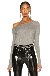 ENZA COSTA CASHMERE OFF SHOULDER LONG SLEEVE IN GRAY