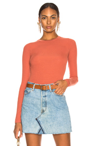 ENZA COSTA RIB FITTED LONG SLEEVE CREW IN ORANGE
