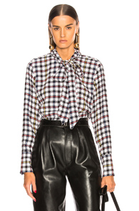 EQUIPMENT LUIS BLOUSE IN PLAID,BLACK,WHITE