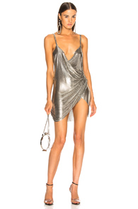 FANNIE SCHIAVONI MESH DRESS IN METALLIC SILVER