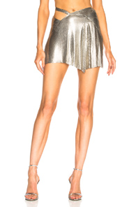 FANNIE SCHIAVONI MESH SKIRT IN METALLIC SILVER