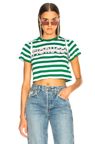 FIORUCCI ICONIC STRIPES CROPPED TEE IN GREEN,STRIPES