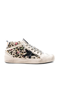 GOLDEN GOOSE COW FUR MID STAR SNEAKERS IN ANIMAL PRINT,WHITE