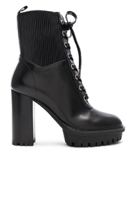 GIANVITO ROSSI LEATHER & ECO STRETCH MARTIS PLATFORM ANKLE BOOTS IN BLACK
