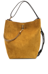Givenchy Medium Suede & Leather Bicolor Gv Bucket Bag In Neutral,Purple