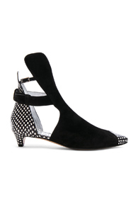 GIVENCHY SNAKESKIN TRIM SUEDE ANKLE BOOTS IN BLACK,ANIMAL PRINT