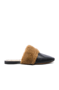 Bedford Mink Fur-Trimmed Leather MulesGivenchy kXtKc8QW