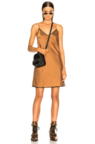 ICONS SLIP DRESS IN BROWN
