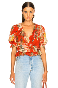 ICONS RUFFLE CHA CHA TOP IN FLORAL,RED