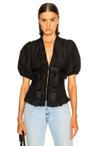 ICONS CORSET TOP WITH PUFF SLEEVES TOP IN BLACK