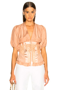 ICONS CORSET TOP WITH PUFF SLEEVES TOP IN NEUTRALS