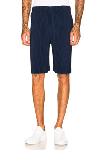 ISSEY MIYAKE HOMME PLISSE PLEATED SHORT IN BLUE
