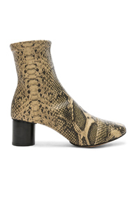 ISABEL MARANT PYTHON EMBOSSED DATSY BOOTS IN ANIMAL PRINT,NEUTRALS