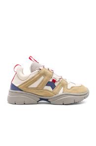 Kindsey Suede-Trimmed Sneakers in Beige