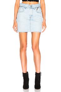 JEAN ATELIER Flip Denim Miniskirt in Denim Light
