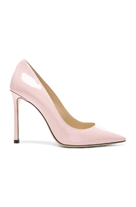 JIMMY CHOO PATENT LEATHER ROMY 100 HEELS IN PINK