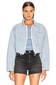 JOHN ELLIOTT | JOHN ELLIOTT Culver Jacket in Blue,Stripes,White | Goxip