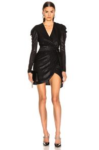 JONATHAN SIMKHAI Metallic Puff-Sleeve Belted Short Dress in Black