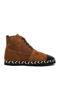 JW ANDERSON SUEDE HI-TOP ESPADRILLE BOOTS IN BROWN