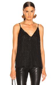 Gabriella V-Neck Sequin Cami Top in Black