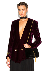 Lanvin Velvet Blazer Jacket in Red