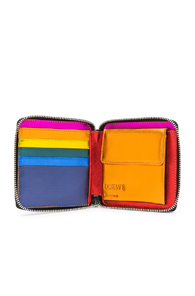 LOEWE RAINBOW SQUARE ZIP WALLET IN BLACK,METALLICS
