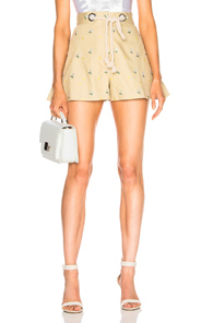 MIAOU GRETA SHORT WITH ROPE BELT IN NEUTRALS,FLORAL
