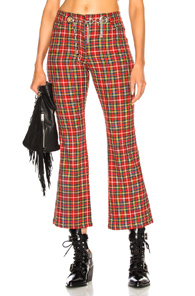 MIAOU MORGAN PANT WITH CIRCULAR TASSEL BELT IN CHECKERED & PLAID,RED