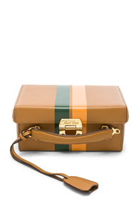 MARK CROSS SMALL SMOOTH CALF STRIPE GRACE BOX BAG IN BROWN