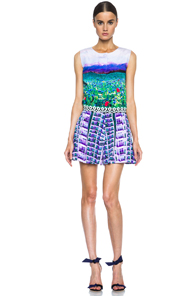 Mary Katrantzou Silk Playsuit in Floral,Purple,Green