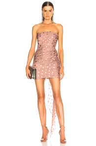 MICHELLE MASON X FWRD RUCHED STRAPLESS DRESS IN POLKA DOTS,PINK