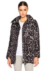 MONCLER Torcelle Leopard Print Coat in Animal Print,Black