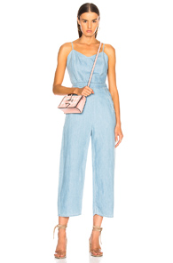 MOTHER THE CUT-IT-OUT JUMPSUIT IN BLUE