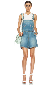 MSGM Crystal Embellished Overalls in Blue,Metallics