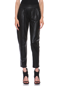 NICHOLAS Leather Track Pants in Black