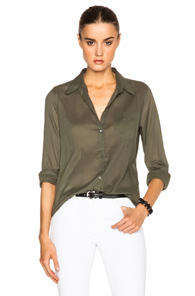 Nili Lotan Cotton Voile Top in Green