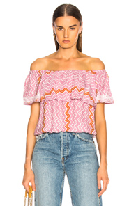 NATALIE MARTIN DAISY TOP IN ABSTRACT,ORANGE,PINK