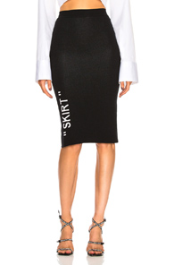 LONG KNIT SKIRT IN BLACK WITH SKIRT TEXT KNITTED.