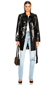 PALMER GIRLS X MISS SIXTY PATENT LEATHER MENSWEAR SHORT TRENCH COAT