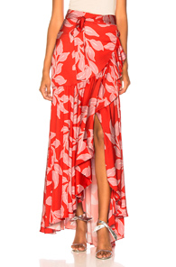PATBO Leaf Print Wrap Skirt in Pink,Red,Tropical
