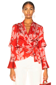 PAT BO Leaf Print Ruffle Wrap Top Red/Pink in Pink,Red,Tropical