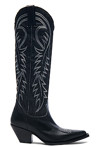 R13 DENIM COWBOY MID STRAIGHT COWBOY BOOTS IN BLACK
