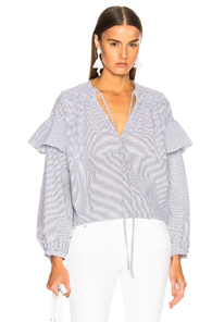 RACHEL COMEY WILLOW TOP IN GRAY,STRIPES,WHITE
