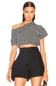 RACHEL COMEY POUT TOP IN BLACK,CHECKERED & PLAID