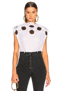 RACHEL COMEY GALLOW TOP IN FLORAL,WHITE