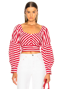 RACHEL COMEY FORMENTERA TOP IN RED,STRIPES