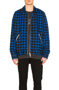 RHUDE TRAPPER JACKET IN BLUE,CHECKERED & PLAID
