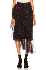 RODARTE TULLE & PLEATHER HIP RUFFLE SKIRT IN ABSTRACT,BLACK,PINK,REDS